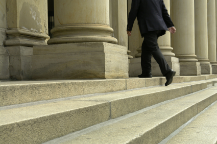 lawyer on courthouse steps