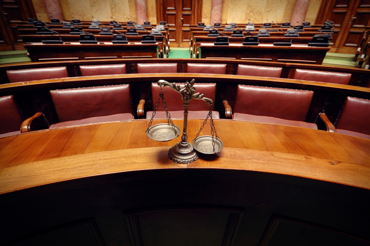 courtroom & scales of justice